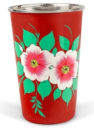 3rd Culture Beyaz Çiçekli Kırmızı Bardak Kırmızı